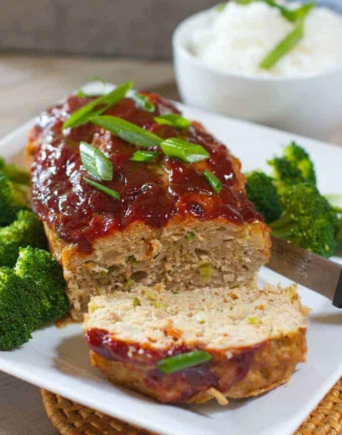Asian Meatloaf on white platter