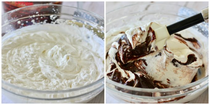 Whip cream in two bowls combined with ganache