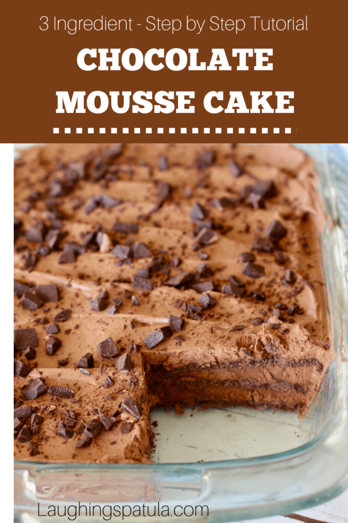 Amazing 3 Ingredient No Bake Chocolate Mousse Cake!  A breeze to make and feeds a crowd! This is the dessert you will be asked to bring over and over again!  #chocolatemousse #chocolateiceboxcake #easychocolatemouse #dessertforacrowd #christmascake #partycake