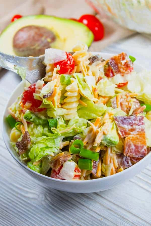 bowl of BLT Pasta Salad with Avocado and Ranch