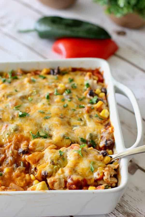 healthy mexican casserole in a white dish