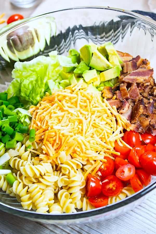 BLT pasta salad before adding ranch