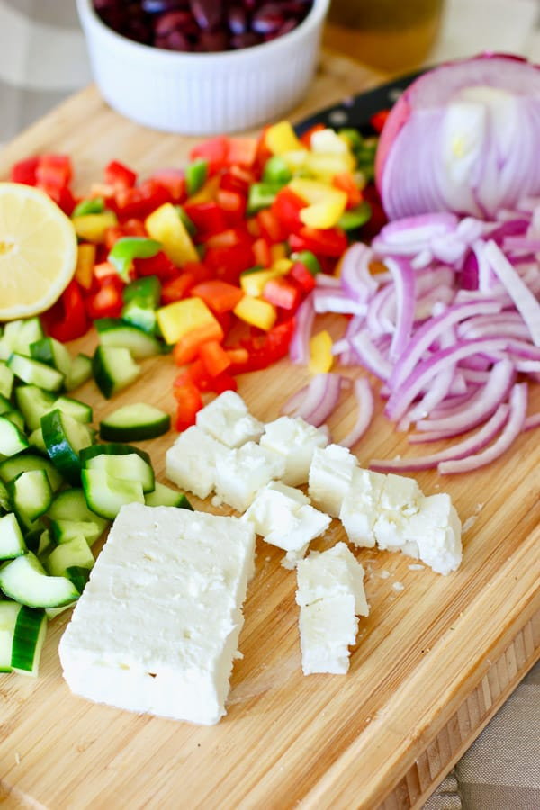 large chunks of feta cheese make greek pasta salad special