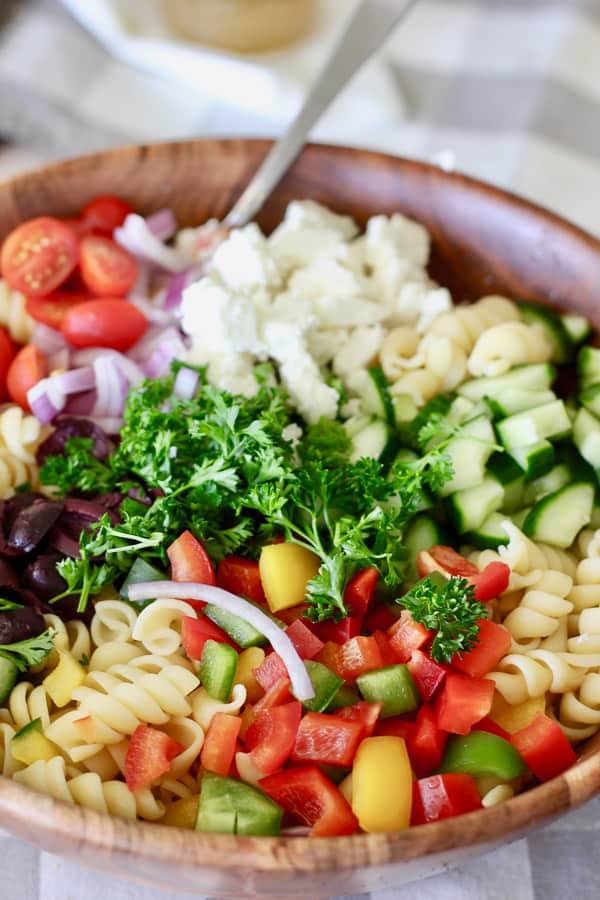cut up veggies for greek pasta salad