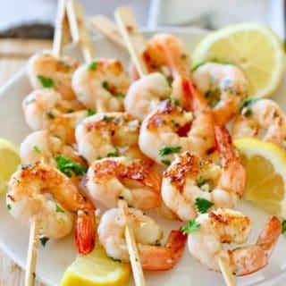 grilled lemon and garlic shrimp skewers