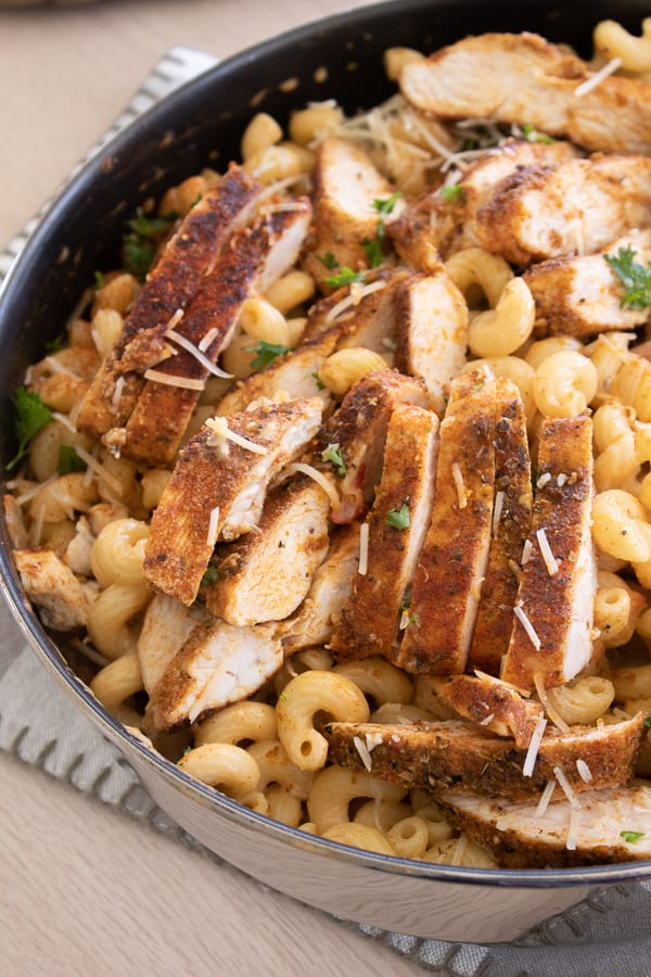 Lightened Up Chicken Pasta Skillet in a skillet pan on a table