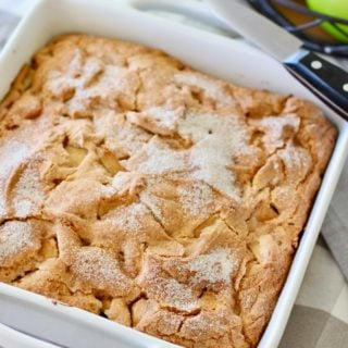 Easy Apple Cake in a white baking dish