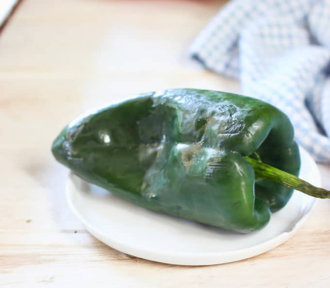 poblano pepper on small plate