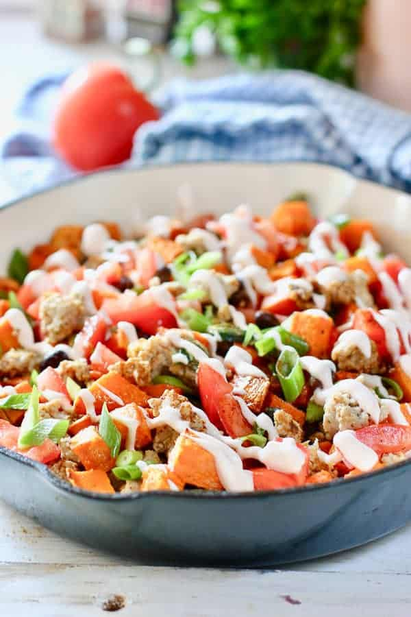 Ground Turkey and Sweet Potato Skillet in blue pan
