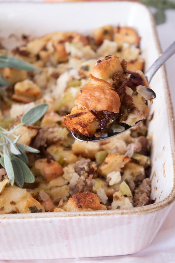 A spoonful of thanksgiving stuffing