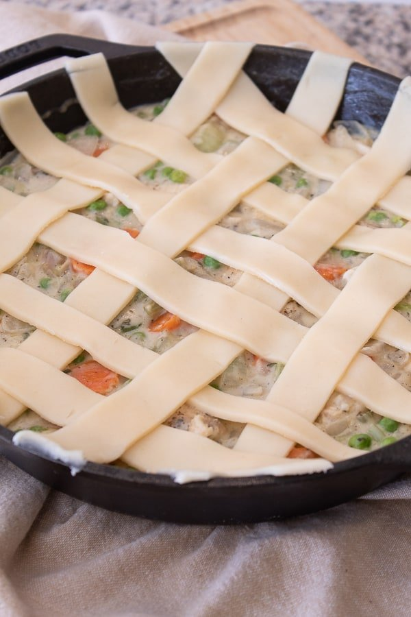 raw chicken pot pie before baking crust