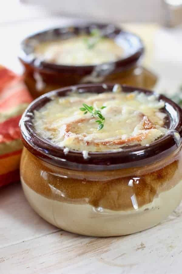french onion soup in a beautiful brown bowl