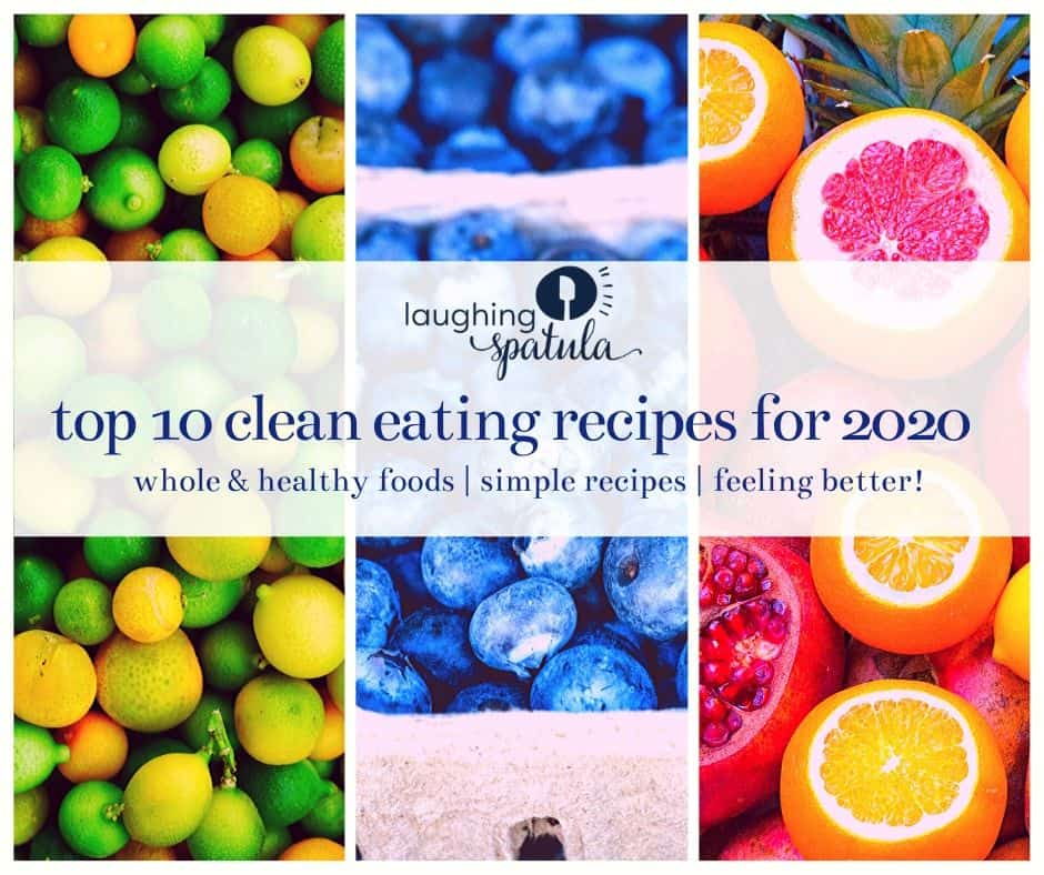 Cover Picture of clean eating graphic with blueberries and citrus background