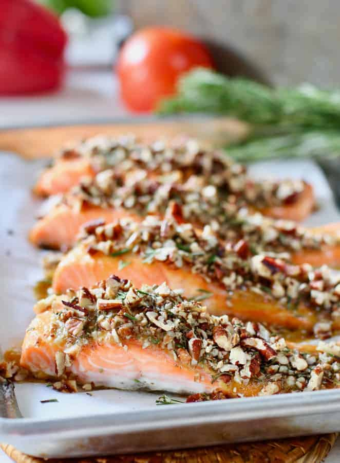 Pecan Crusted Salmon ready to serve