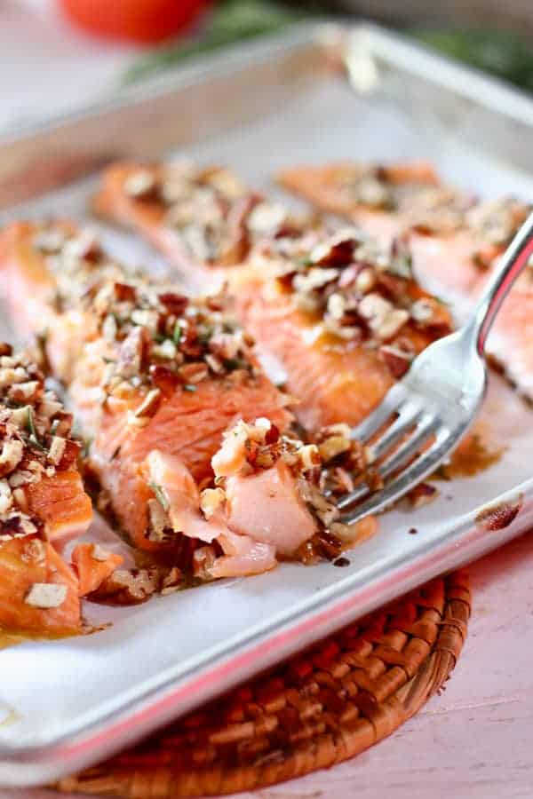 Pecan Crusted Salmon with a fork