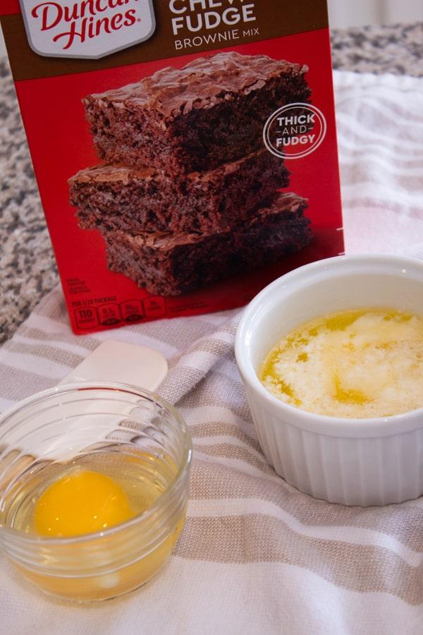 ingredients for chocolate brownie mix cookies