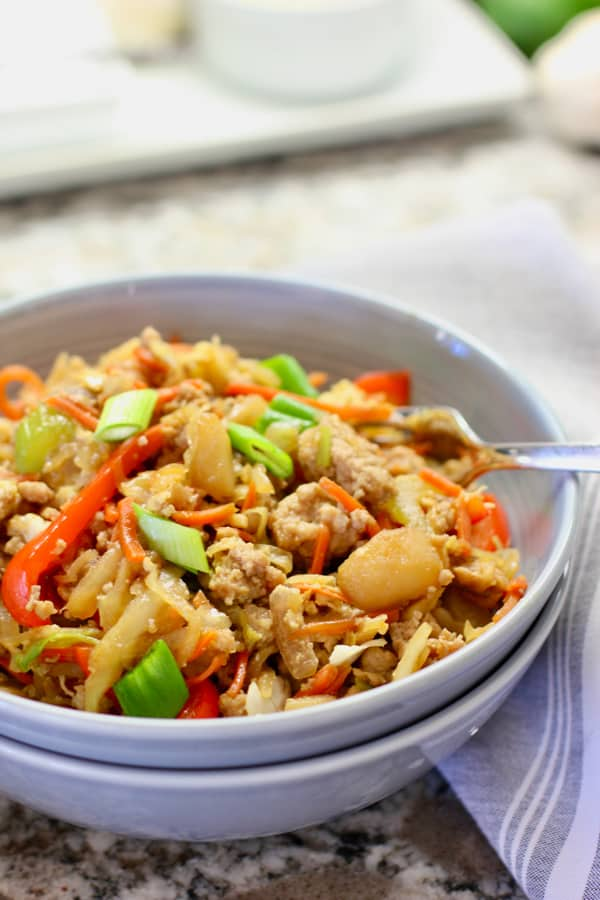 Egg roll in a gray bowl