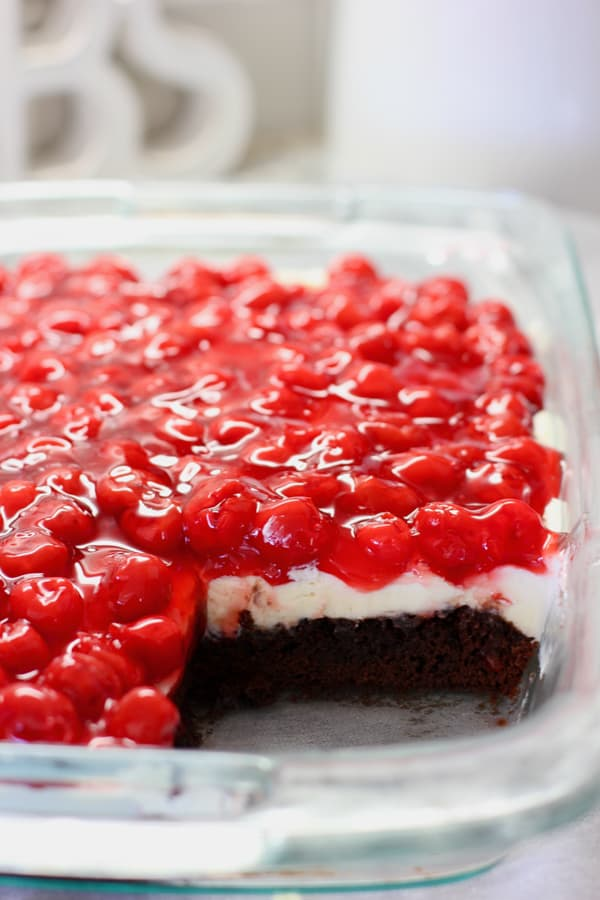Brownie and cherry squares