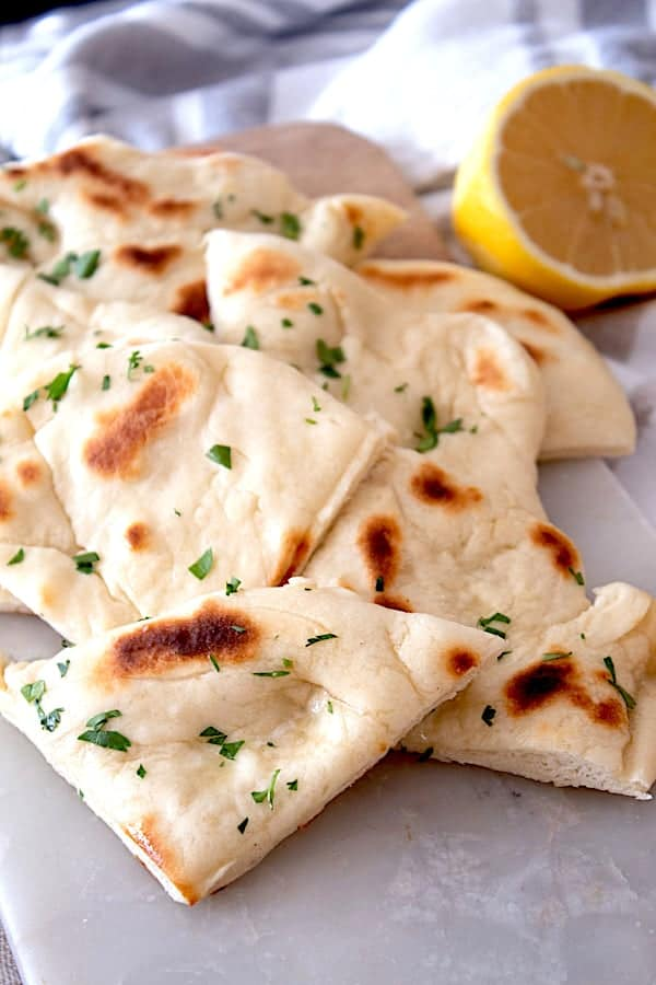 cut pieces of naan