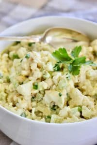 Cauliflower Potato Salad salad in a white bowl