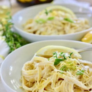 Lemon Ricotta Pasta in two white bowls ready to serve