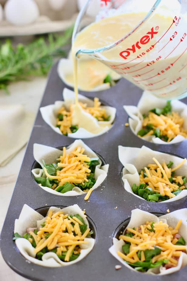 pour egg mixture over wonton wrappers