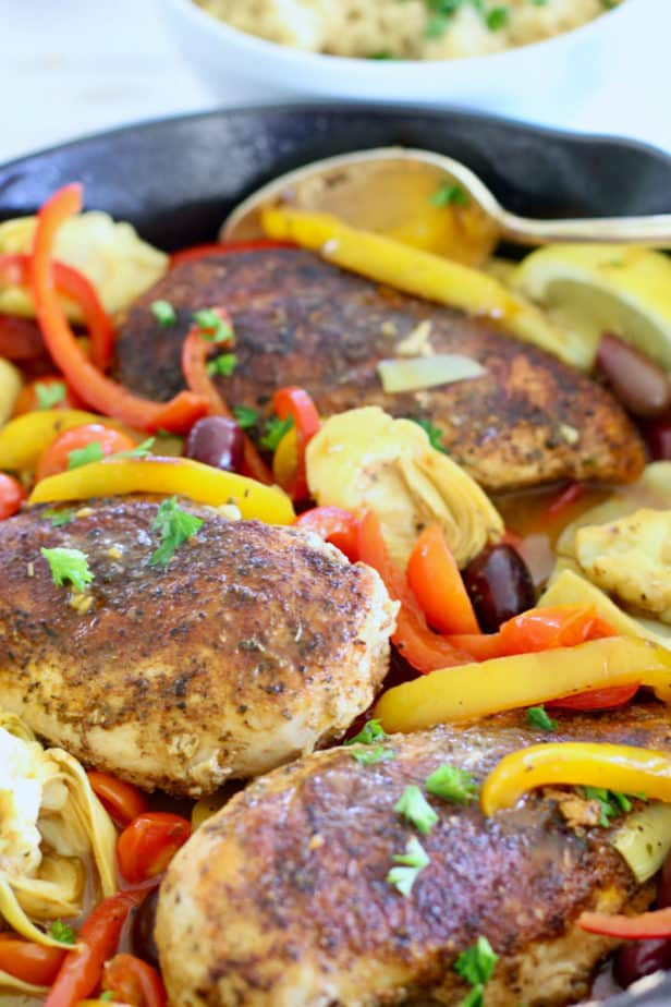 Mediterranean Chicken in a skillet