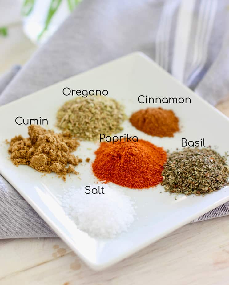spices on a plate ready mix for Mediterranean spice rub
