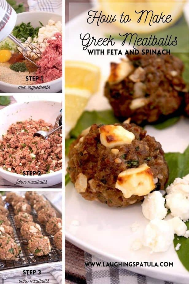 how to make a greek meatball image for pinterest with steps
