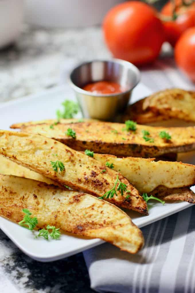 Air Fryer Fries on white plate