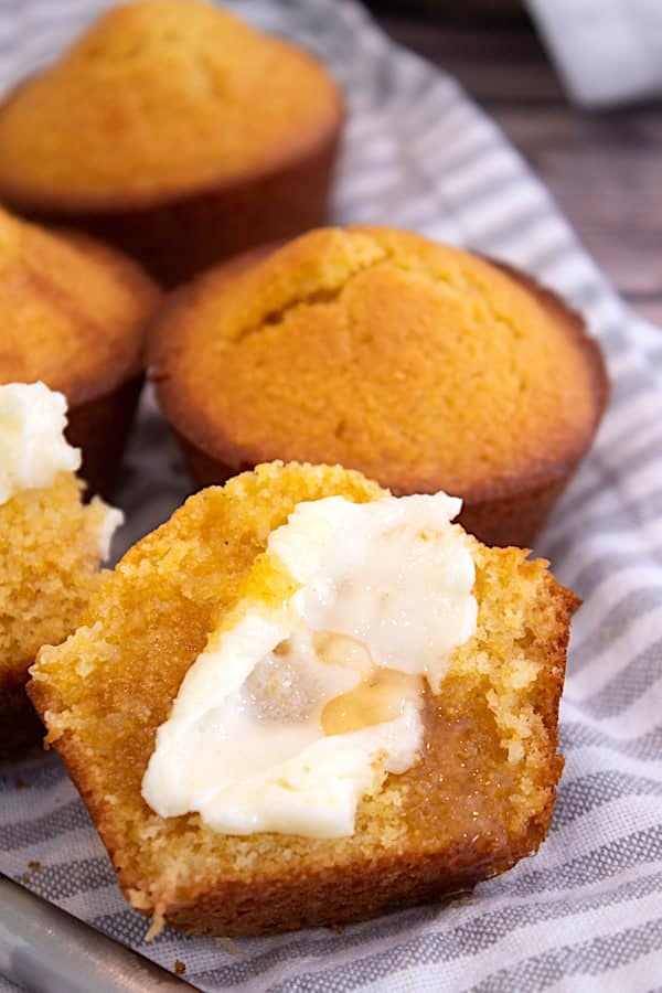 corn muffins with butter and honey slathered