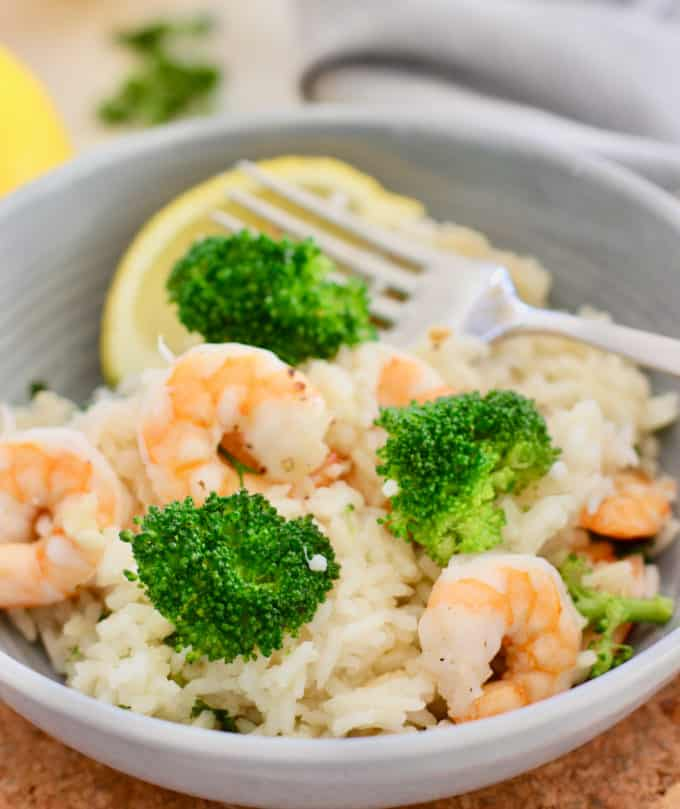 gray bowl with shrimp and rice