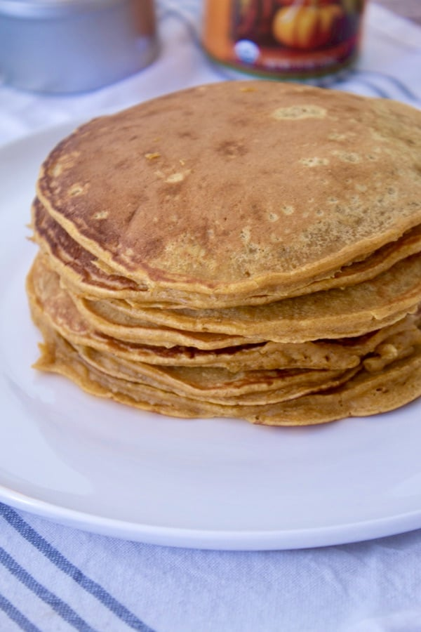 stack of cooked pancakes on white plate