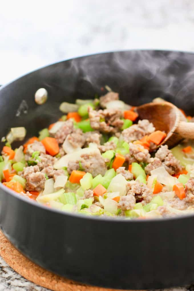 sausage stuffing in skillet