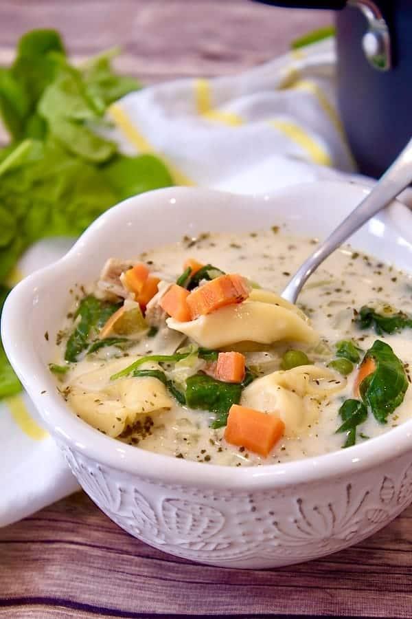white bowl tortellini soup
