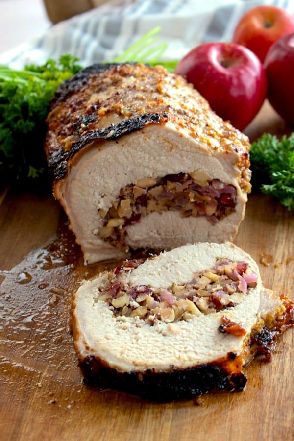 pork loin stuffed and cut in a roll