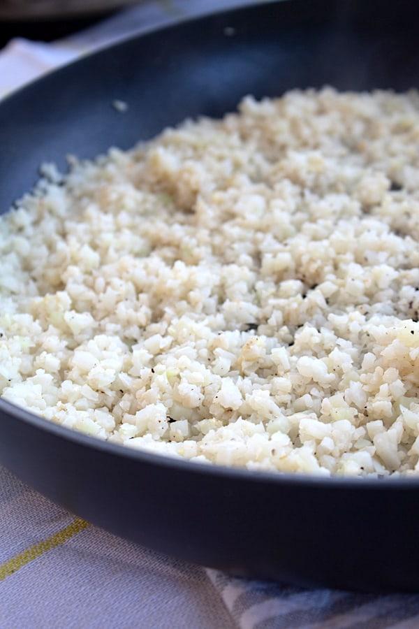 pan of cauliflower rice