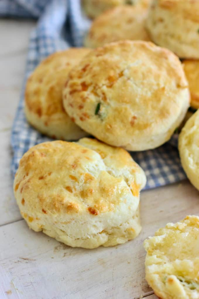 baked cheddar biscuits ready to serve