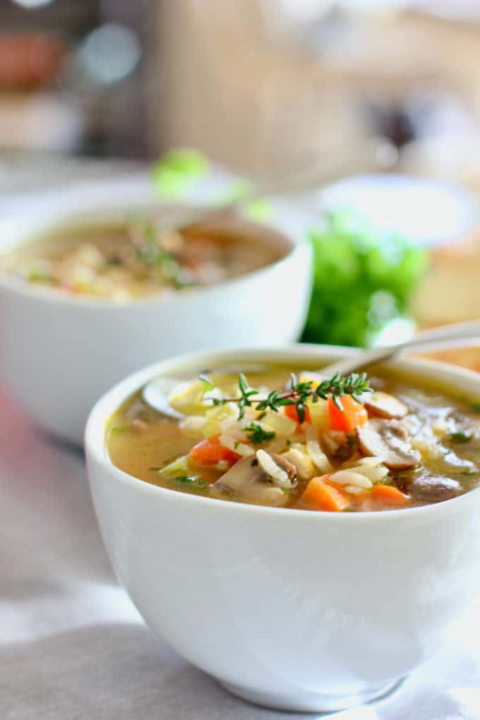 Chicken Mushroom Soup in a white bowl