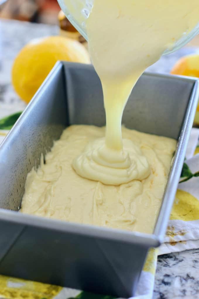 pour lemon batter into prepared loaf pan