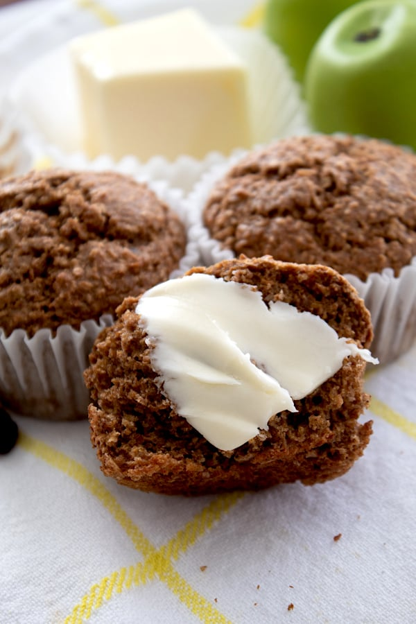 bran muffin with butter smear