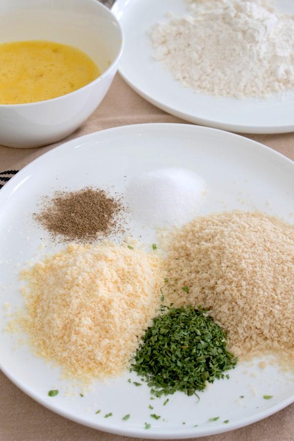 chicken dredge ingredients on plate