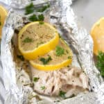 mahi mahi in a foil packet with lemon and parsley