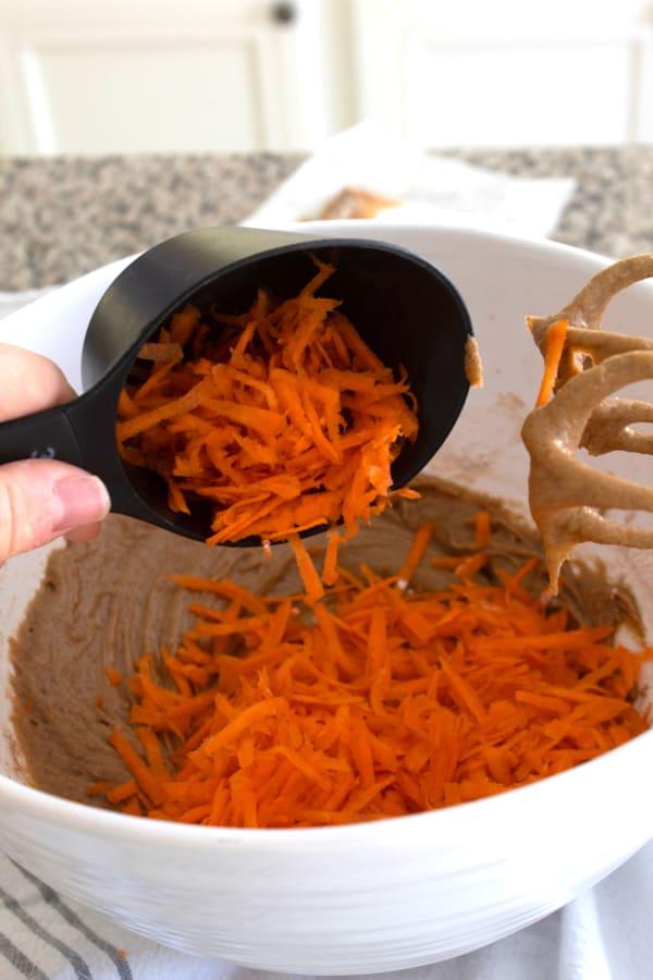 add shredded carrots to batter