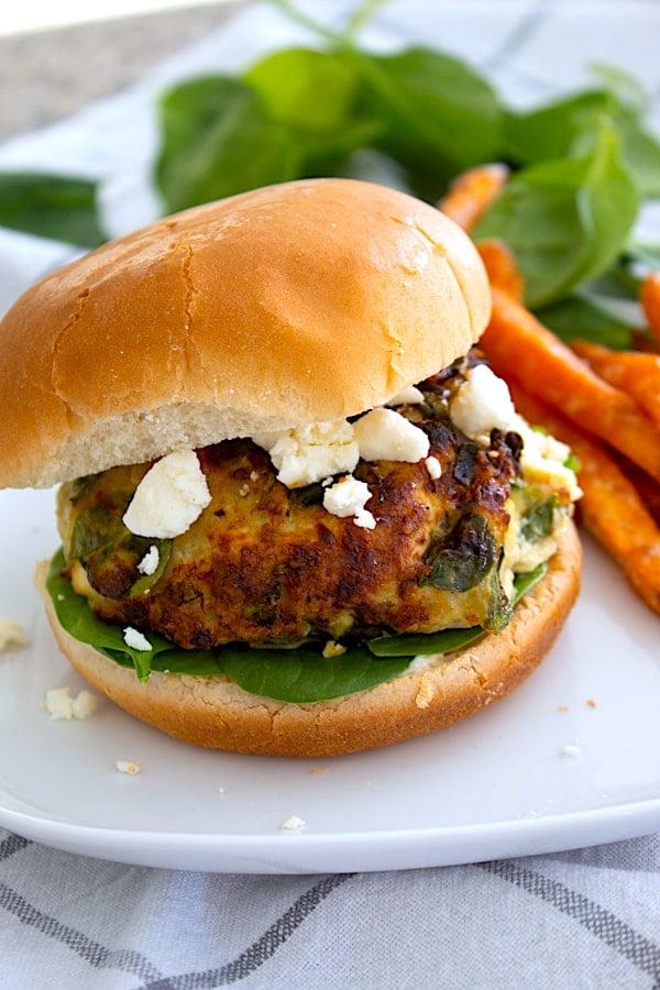 hero shot of spinach burger
