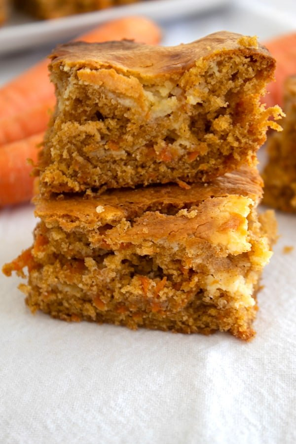 carrot cake bars stacked on each other