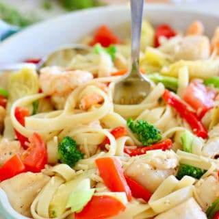 veggies and pasta in a pan