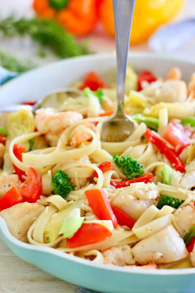 Shrimp and Scallop Pasta in a blue skillet