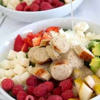 summer salad with sausage and poppyseed dressing
