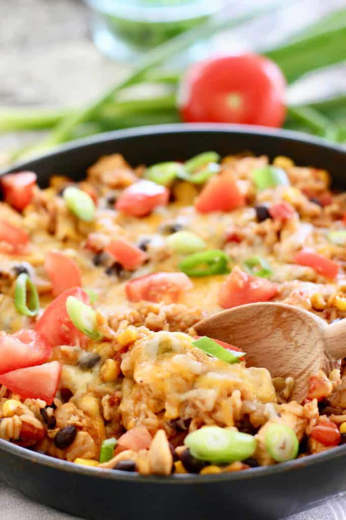 Mexican Chicken and Rice ready to serve out of a pan